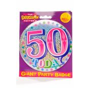 Giant Party Badge 50th - Pink