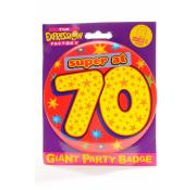 Giant Party Badge 70th - Red/Yellow