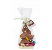 Chocolate Alchemist Belgian Milk Chocolate Bunny with Chick on Foiled Solid Milk Chocolate Mini Eggs in Gift Bag