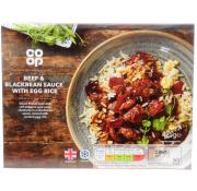 Co Op Beef and Blackbean Sauce with Egg Rice