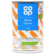 Co Op Whole Carrots In Water