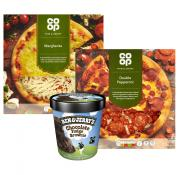A BIG DEAL! TWO PIZZA'S AND A TUB OF BEN & JERRY'S FOR JUST £5!
