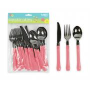 Bello 12 Piece Disposable Cutlery Pink
