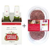 4PK STELLA & 4PK BURGERS FOR ONLY £3.50!
