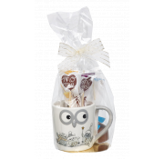 Van Roy Embossed Owl Design Mug with Vanilla Mocca and Milk Chocolate Drinking Chocolate Sticks