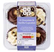 Co Op 4 Chocolate and Vanilla Cupcakes