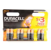 Duracell Plus Power AA 5+3 Extra Free Batteries