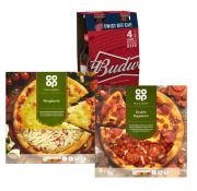 2 Pizzas & Budweiser 4pk for just £5!