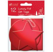 Gift Maker 12 Foil Red Assorted Gift Tags